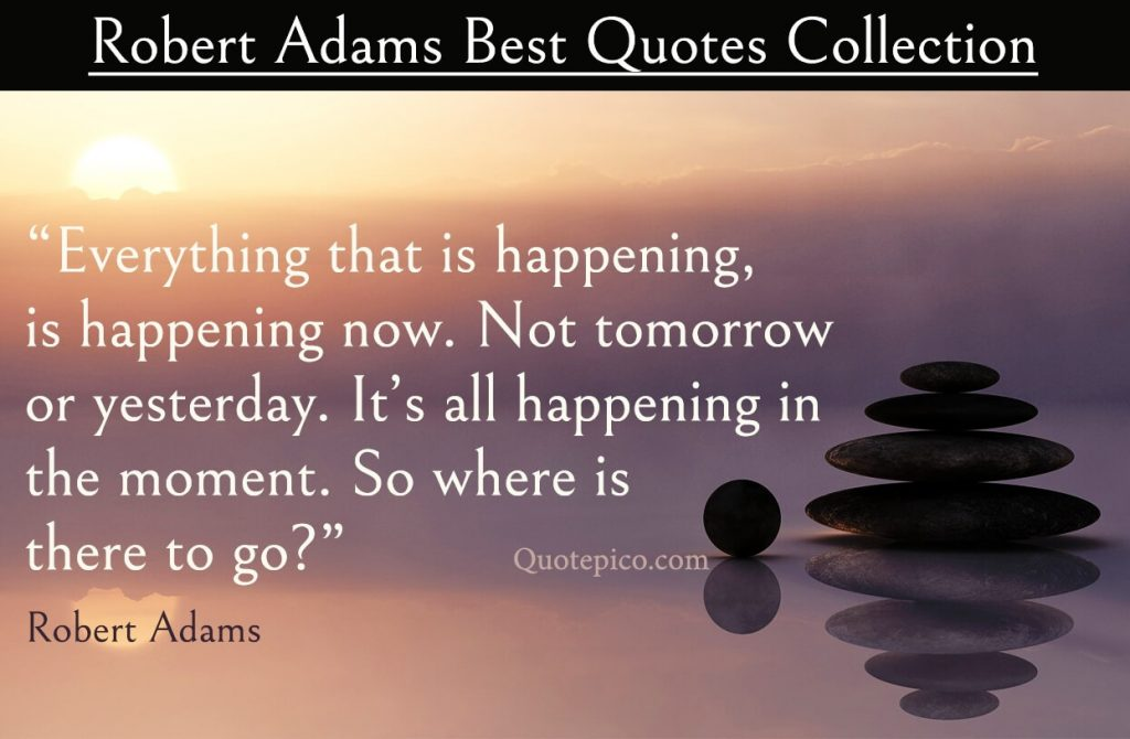 """Robert Admas Quote on being in the now """"Everything that is happening, is happening now. Not tomorrow or yesterday. It's all happening in the moment. So where is there to go?"""""""